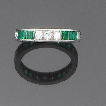A diamond and emerald eternity ring