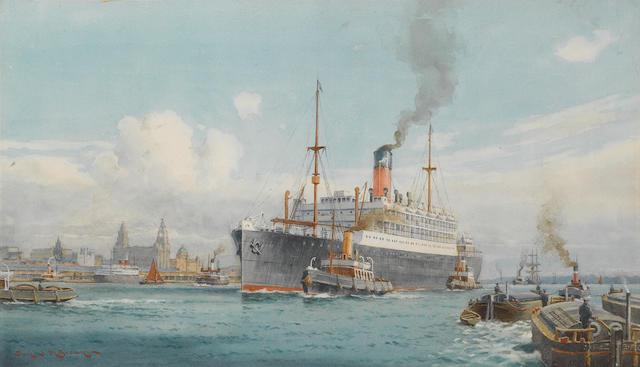 Samuel John Milton Brown (British, 1873-1965) A Cunard liner outward bound from the Mersey