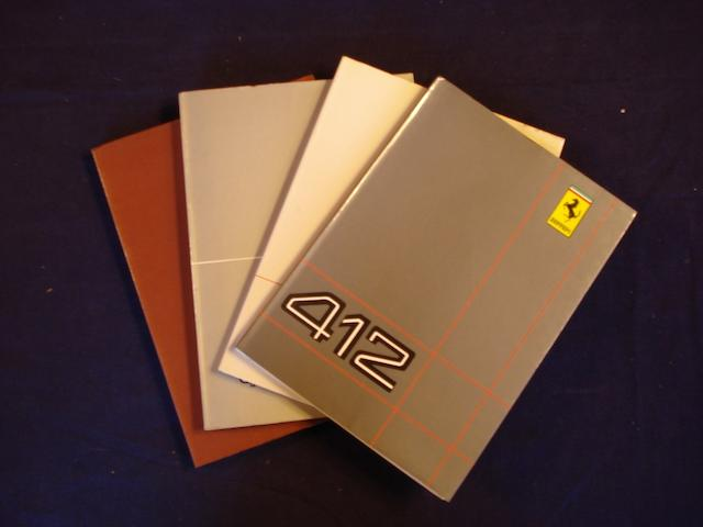 A selection of various Ferrari owners manuals and sales literature,
