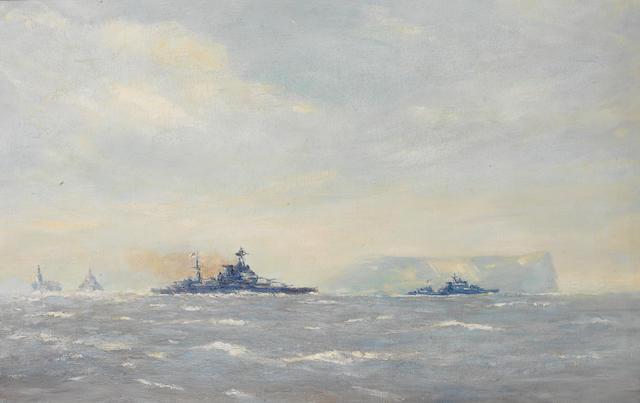 Norman Wilkinson (British, 1878-1971) HMS Malaya and Force H. leaving Gibraltar