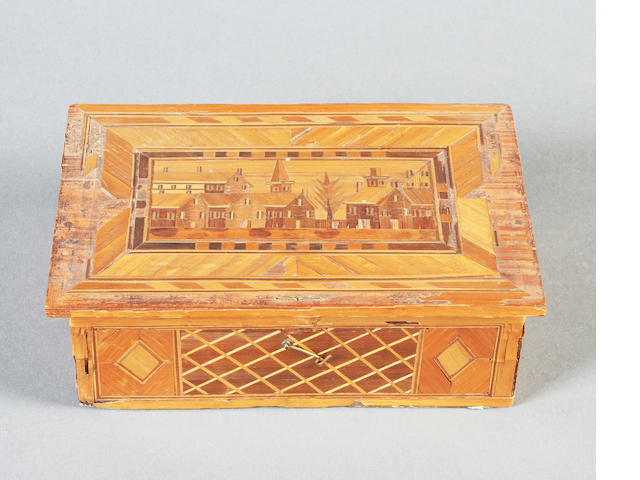 A French Napoleonic prisoner-of-war work bone domino box and a similar straw work box