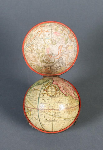 A rare Richard Cushee 2 3/4-inch terrestrial pocket globe, English, circa 1731,