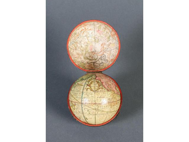 A rare Richard Cushee 2 3/4-inch terrestrial pocket globe, English, circa 1731,