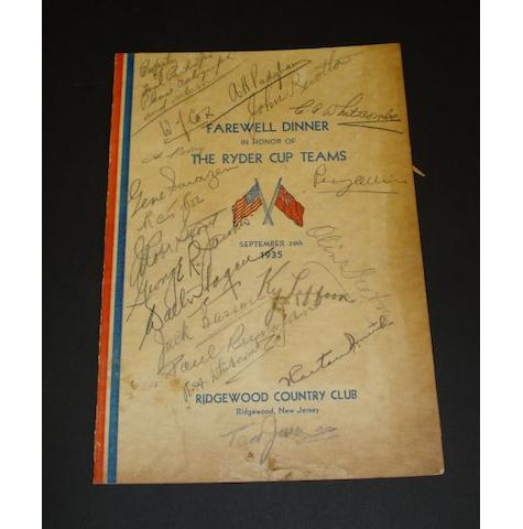 The 5th Ryder Cup Farewell Dinner menu 29 September 1935