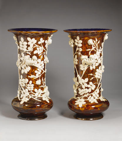 George Tinworth An Important Pair of Doulton Lambeth Exhibition Vases