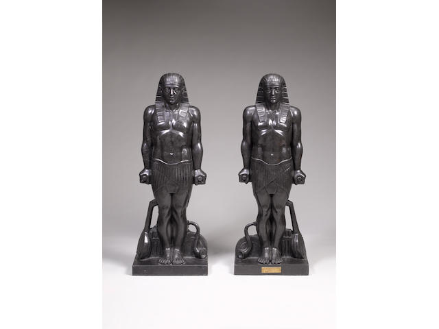 A pair of black marble Egyptian statues, After AntinousLate 19th Century by L. Potet