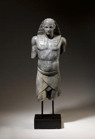 A bardiglio marble Egyptian male figure of AntinousCirca 1900
