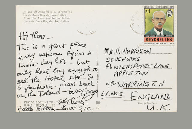 A postcard from George Harrison, 1970s,