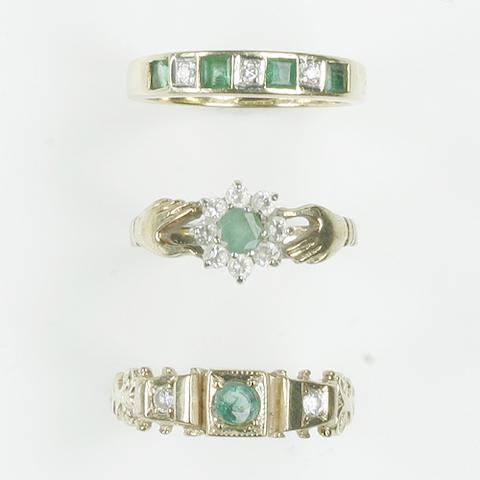 An emerald and diamond half hoop ring (3)