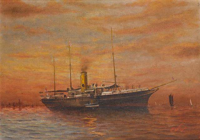 W.P. Leeate (British, 19th./20th. Century ?) H.M.S. 'Surprise' moored off a coast  26 x 36.8cm. (10 1/4 x 14 1/2in.), together with a photograph of the vessel in Valletta harbour(2)