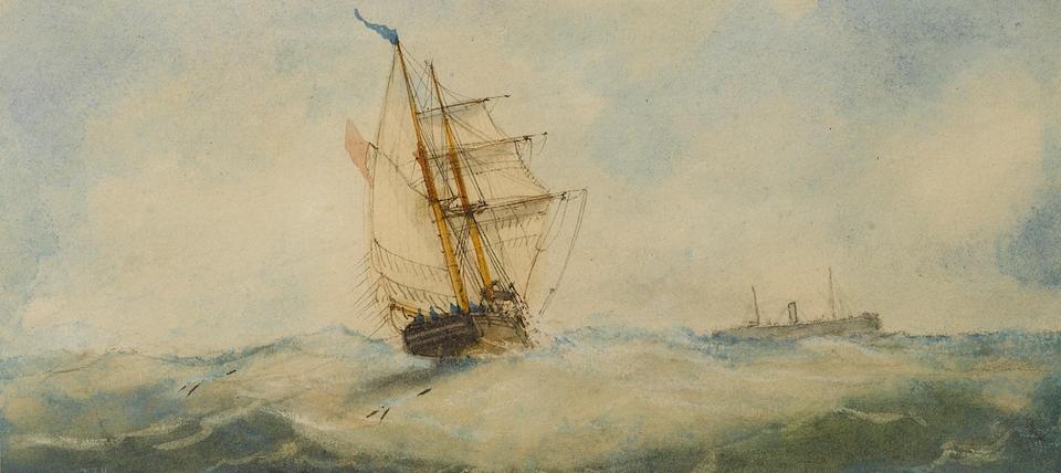 Richmond Markes (British, 19th Century) Sail and steam; A schooner under full sail each 9.5 x 21cm (3 3/4 x 8 1/4in) (2).