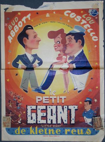 A collection of seven Abbott and Costello related Belgian film posters, including;