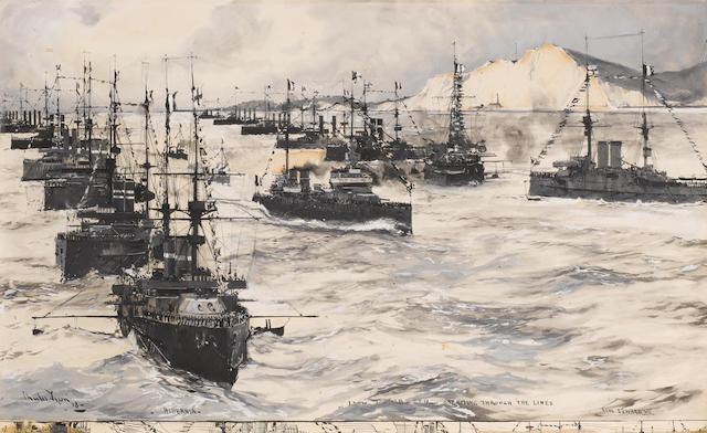 Charles Edward Dixon, R.I. (British, 1872-1934) The visit of the French battlecruiser 'Leon Gambetta