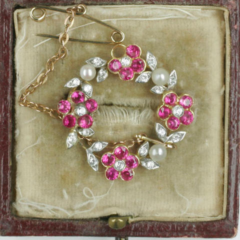 A ruby, diamond and cultured pearl wreath brooch