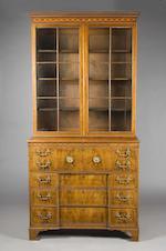 A fine George III mahogany secretaire bookcase