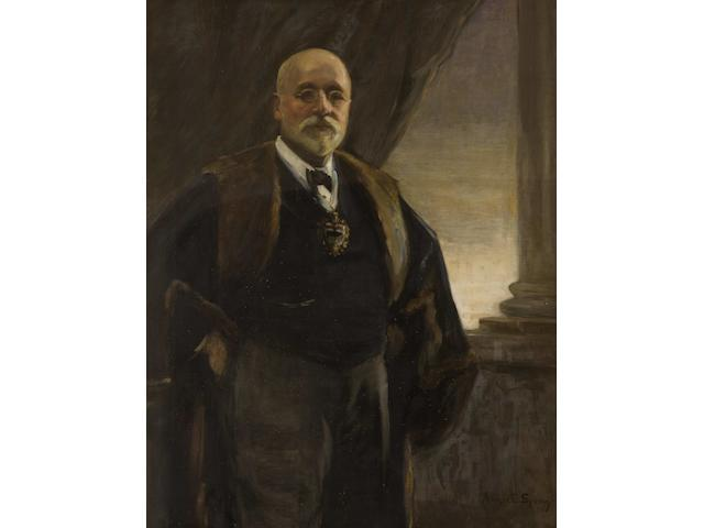 Annie E Spong (1870-1957) Three quarter length portrait of J.E. Anderson, standing wearing mayoral badge beside a classical column, a drape behind, 119 x 83.5cm.