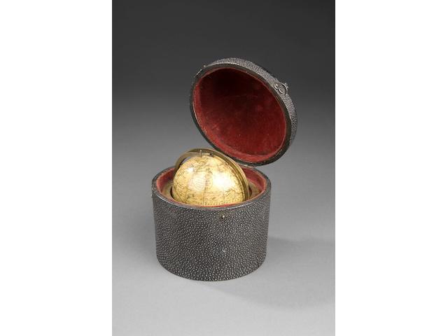 A rare George Adams 2 3/4-inch terrestrial globe English, circa 1795,