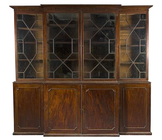 A George III mahogany library breakfront bookcase