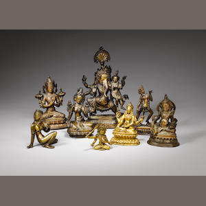 Eight Nepalese and Tibetan bronze and copper alloy figures 19th century and later