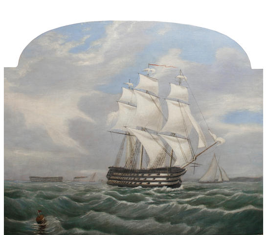 English School, 19th Century A ship of the line on a breezy day