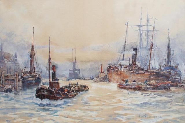 Frank William Scarbrough (British, 1860-1939) Pool of London