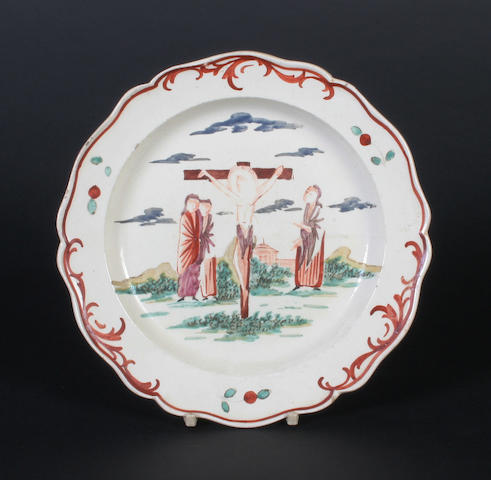 A Dutch decorated creamware plate Late 18th Century