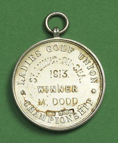 The 1913 British Ladies Open Championship winner's silver medal
