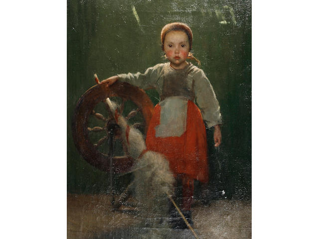 Marianne (Preindlsberger) Stokes (Austrian, 1855-1927) Young girl with a spinning wheel