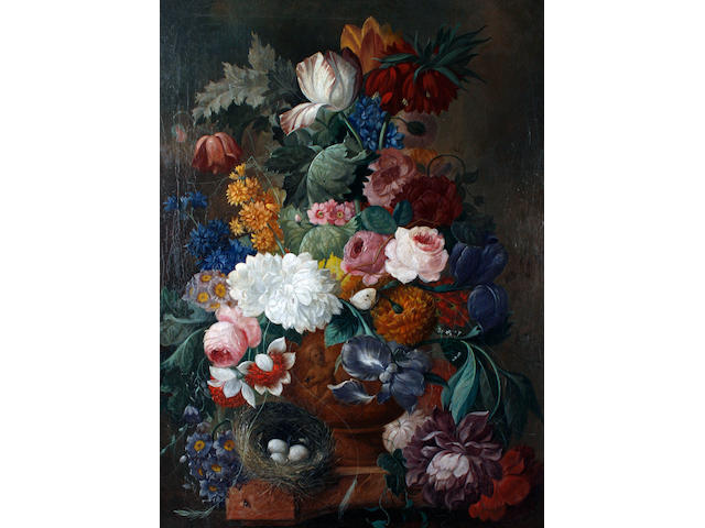 Circle of Johan-Baptist Dreschler (German, 1756-1811) An arrangement of flowers in a classical vase,