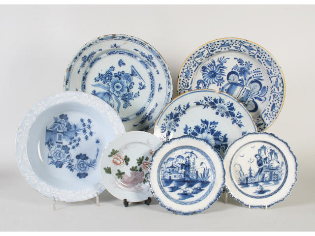 A Bristol delft plate, an English polychrome plate, a pair of pearlware plates, and three Dutch delft dishes