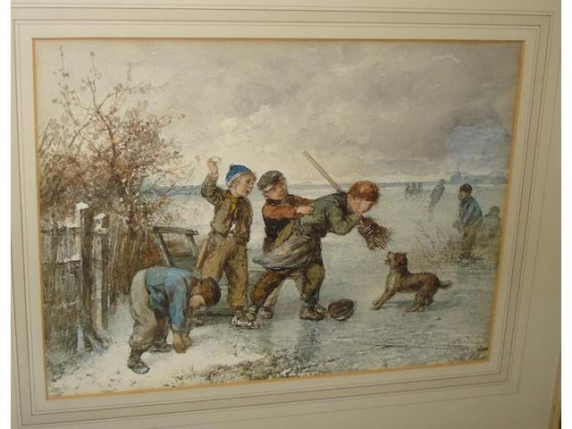 Johan 'Mari' Henri ten Kate (Dutch, 1831-1910) Children playing on ice