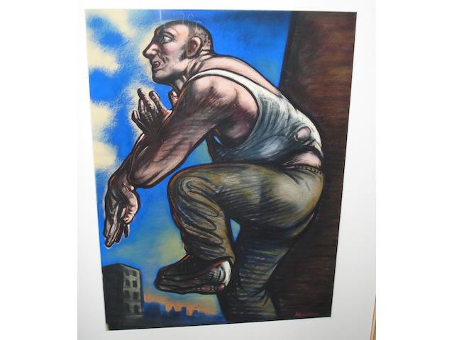 Peter Howson (British, born 1958) Figure and cityscape
