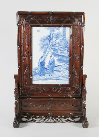 A Chinese export blue and white table screen 19th Century