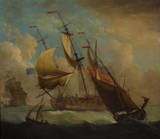 Peter Monamy (British, 1681-1749) British men-of-war on a breezy day