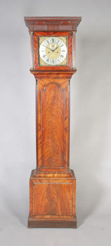 A composite 18th century figured mahogany longcase clock