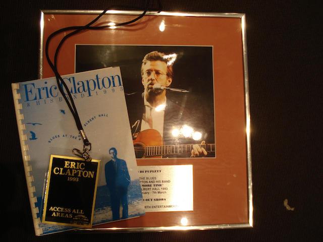 An Eric Clapton 'One More Time' concert award, 1993,