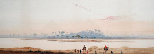 Augustus Osborne Lamplough, A.R.A., R.W.S (British, 1877-1930) Sunset near the Pyramids; Ruins on th