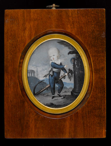 (n/a) Peter Eduard Stroely (German, 1768-circa 1826) Emperor Ferdinand I of Austria (1793-1875) as a child, wearing blue silk suit with white frilled collar and knotted sash, riding on an anchor entwined with oak leaves, his right hand pointing towards a column with an eagle, scales, corn, grapes, wreath of flowers and laurel crown, Italianate landscape with temple and mountains in the background
