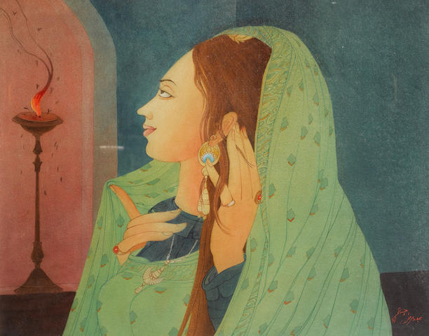 Abdur Rahman Chughtai (Pakistan, 1897-1975) Maiden contemplating moths at a flame