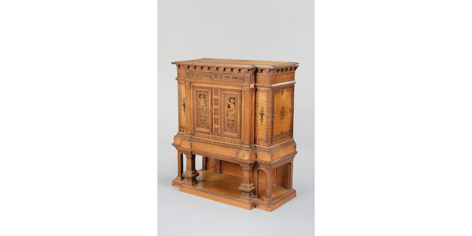 A Victorian oak and penwork cabinet circa 1880