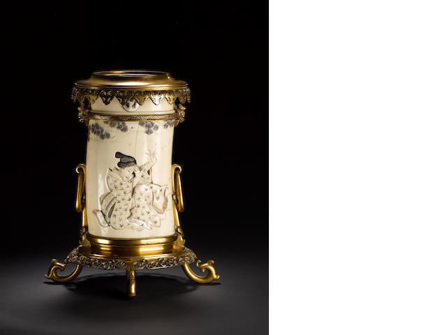 A gilt-metal mounted ivory tusk vase Meiji Period