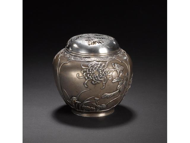 An elegant white metal koro and pierced domed cover Meiji Period
