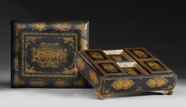 A mid 19th century Chinese export black and gilt lacquered gaming box and a collection of mother of pearl gaming counters