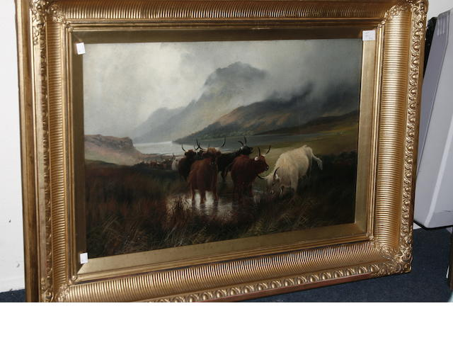 Harald R. Hall (British, 1866-1902) Highland cattle watering in a misty landscape, signed, oil on canvas, and a companion, Highland Shepherd, each 49 x 74cm, and contained in original gilt gesso moulded frames.