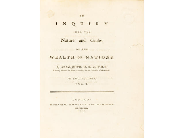 SMITH (ADAM) An Inquiry into the Nature and Causes of the Wealth of Nations, 2 vol.