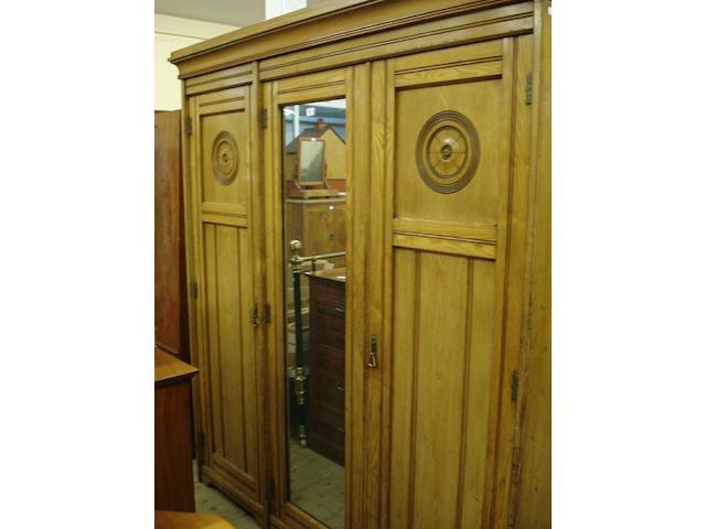 A late Victorian ash combination wardrobe