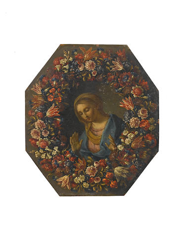 Circle of Pier Francesco Cittadini (Milan 1616-1681 Bologna) The Annunciation within a garland of flowers (2) unframed