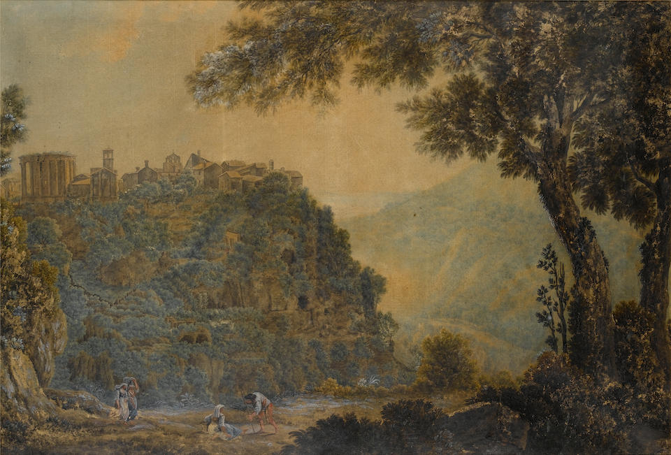 Attributed to Abraham Louis Rodolphe Ducros (Yverdon 1748-1810 Lausanne) A group of travellers by the Falls of Tivoli; and Peasants resting with the Temple of the Sybil of Tivoli in the background 64.4 x 94.7 mm. (2)