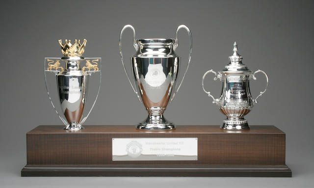 Manchester United treble season 1999 replica trophies