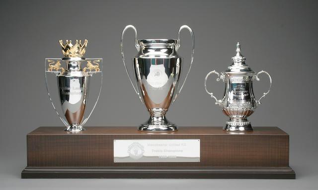 Manchester United treble season 1999 replica trophies
